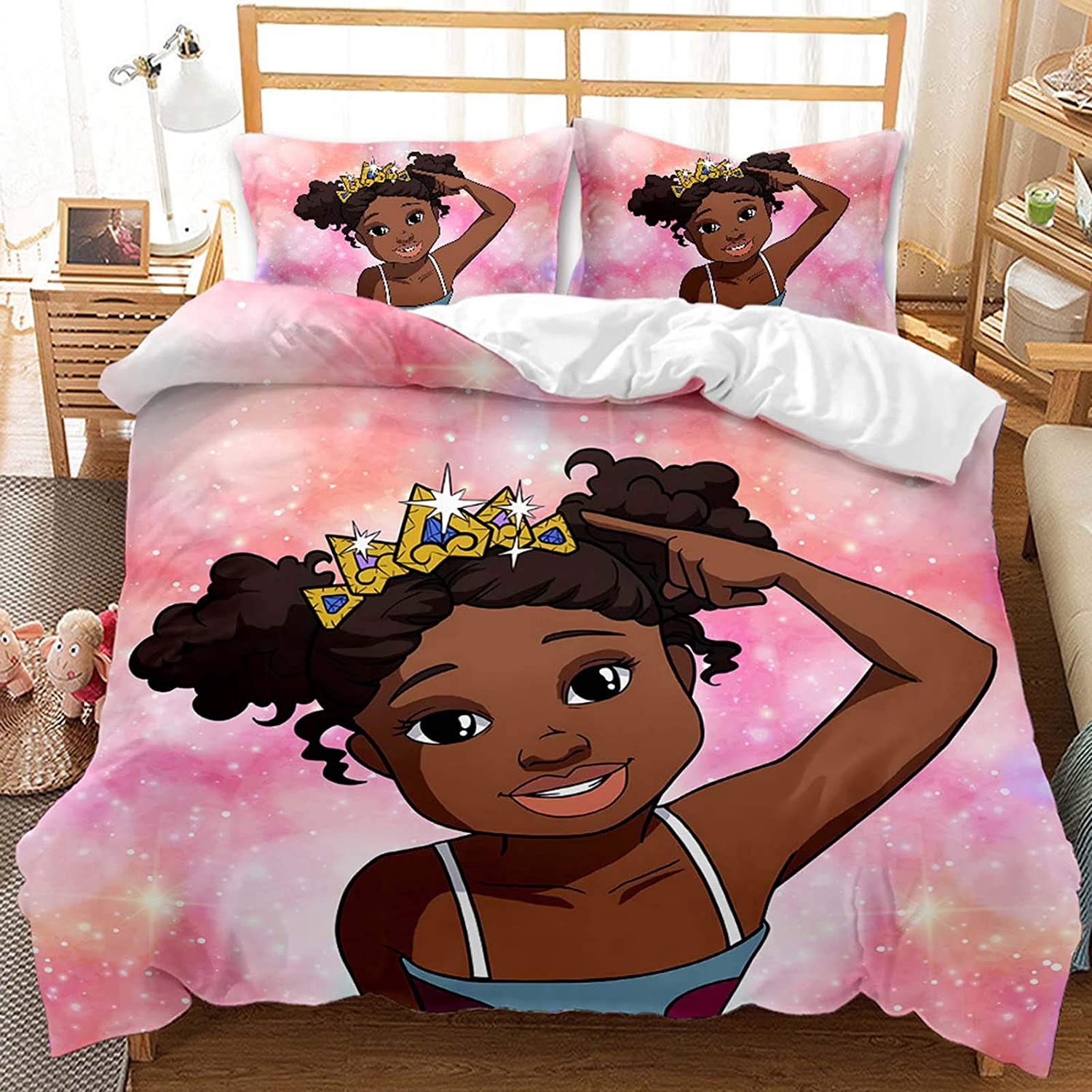 ADAK Pretty Black Girl Magic Bedding Set with Crown Full Size Pink Galaxy Bed Comforter Cover for Kids Teens Girls Bedroom Decor,1 Duvet Cover+2 Pillowcases