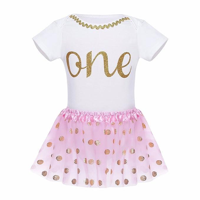 YiZYiF Mameluco con Vestido Conjunto Bebé Niñas 2 Piezas Pelele con Tutú Falda Cumpleaños Traje de Bebé Niñas para 12-24 Meses: Amazon.es: Ropa y accesorios