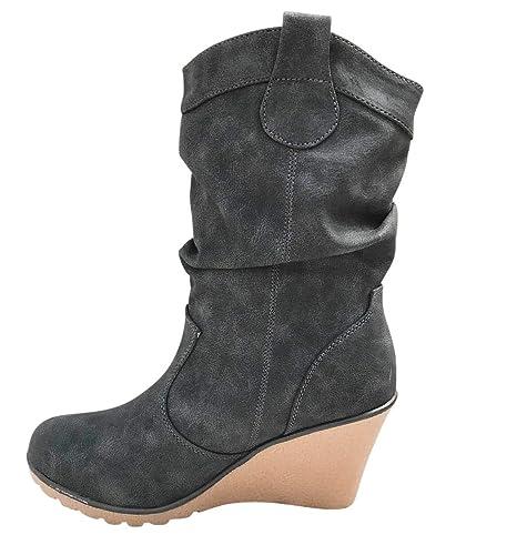 low priced bdd35 0fa5d Damen Stiefel leicht gefüttert Stiefeletten Keilabsatz Boots ST188  Schlupfstiefel High Heels
