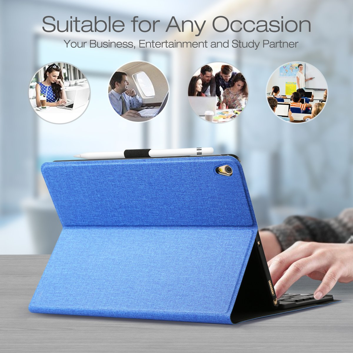 AntArt 10.5 Leather case + Wireless Bluetooth American English ABS Brushed Keyboard for iOS, Android Windows by AntArt (Image #6)
