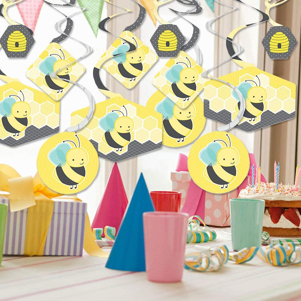 Party Decoration Swirls Baby Shower or Birthday Party Hanging Decor Set of 40 Big Dot of Happiness Honey Bee