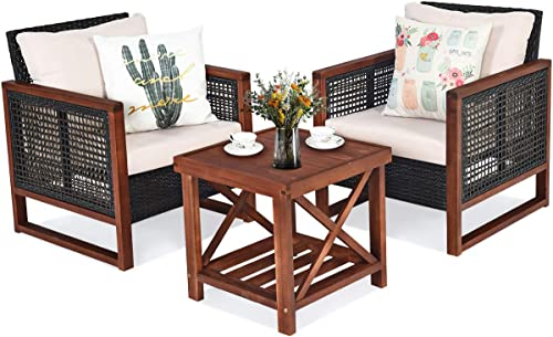 Tangkula 3 Pieces Patio Wicker Furniture Set