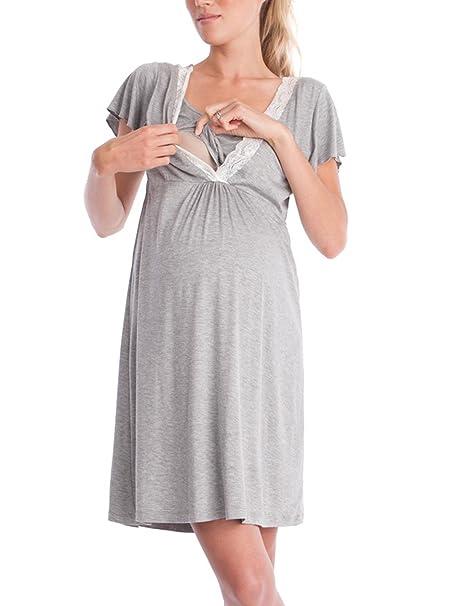 Lomon Vestido de Mujer para Maternidad Camisón de Noche para Estancias en Hospital Camisón de Noche
