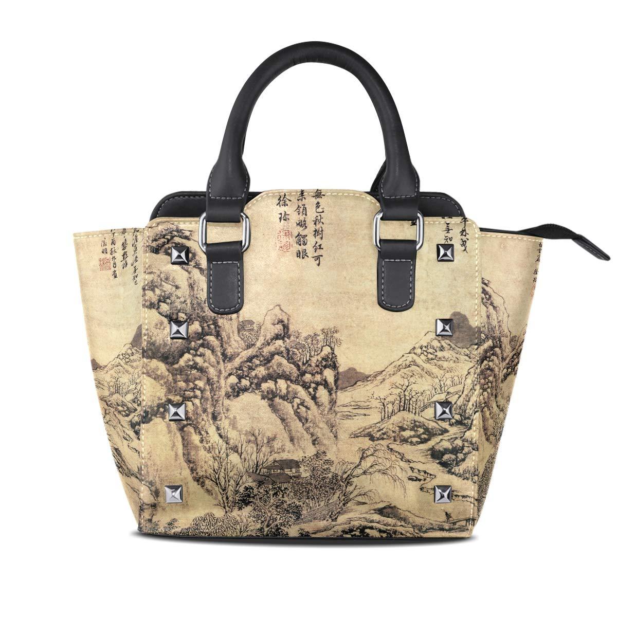 Design2 Handbag Leaves Genuine Leather Tote Rivet Bag Shoulder Strap Top Handle Women