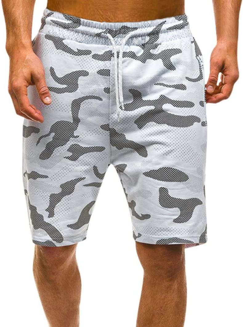 LuckyGirls Pantalones Hombres Cortos Chandal Originales Camuflaje Casuales Pantalones de Deporte Jogger Suelto Pantalón de Lazo