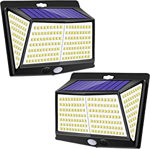 Solar Lights Outdoor 228 LED with Lights Reflector, YZAA 3 Working Modes Wireless Motion Sensor Light with 270° Wide Angle, IP65 Waterproof Outdoor Lights for Garden Patio Deck (2 Pack)