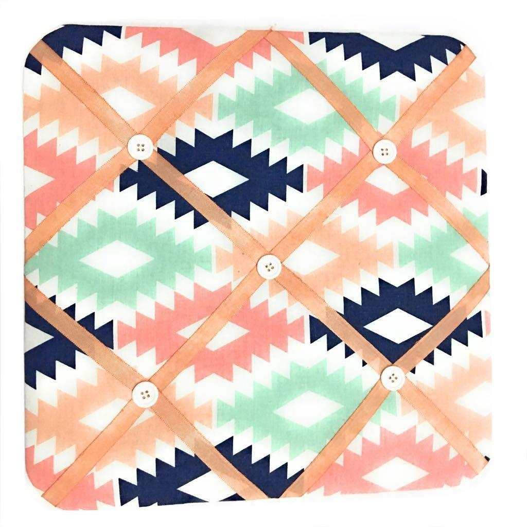 Bacati Aztec Emma Girls Fabric Memory/Memo Photo Bulletin Board, Coral/Mint/Navy