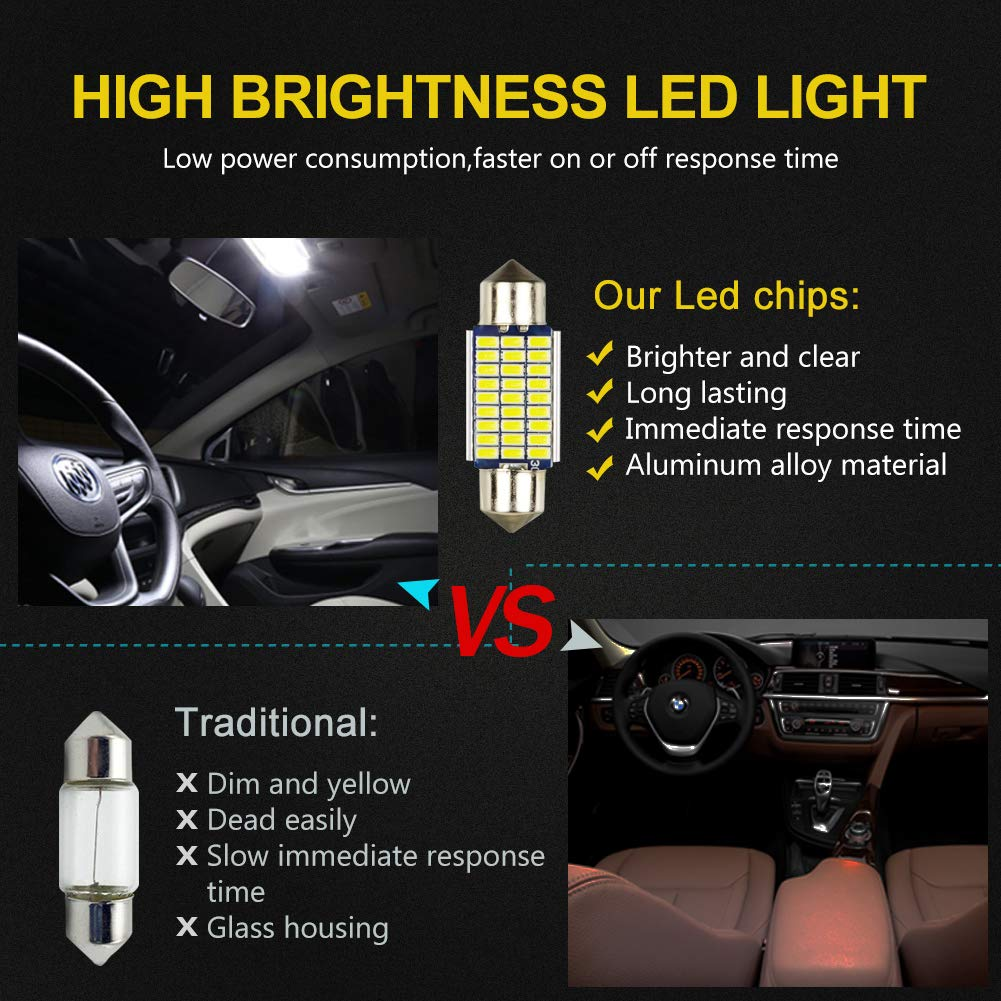 LncBoc 39mm 1.53 Festoon LED C5W Bulbs 30-SMD 3014 LED White Replacement Bulb With Aluminium Sink For Car Interior Dome Light License Plate Trunk Light DC 12V 39mm Pack of 4