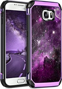 BENTOBEN Case for Galaxy S6, Slim Hybrid Heavy Duty Rugged Hard PC Cover Soft TPU Bumper Impact Resistant Non-Slip Shockproof Protective Case with Space Nebula Pattern for Samsung Galaxy S6, Purple