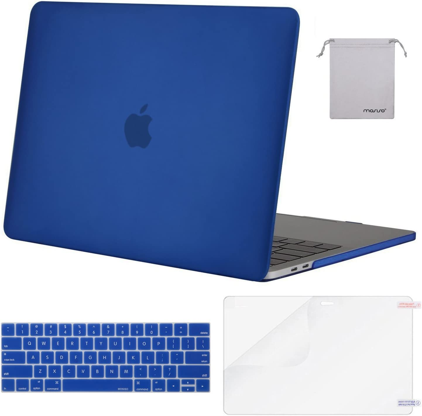 MOSISO MacBook Pro 13 inch Case 2019 2018 2017 2016 Release A2159 A1989 A1706 A1708, Plastic Hard Shell Case&Keyboard Cover&Screen Protector&Storage Bag Compatible with MacBook Pro 13, Royal Blue