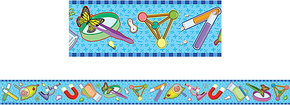 Amazon Com Teacher Created Resources Science Straight Border Trim Multi Color 4682 Themed Classroom Displays And Decoration Office Products