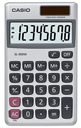 Casio Calculator Handheld Battery Solar-power 8 Digit 3 Key Memory Wallet  70x117x8mm Ref SL300SV