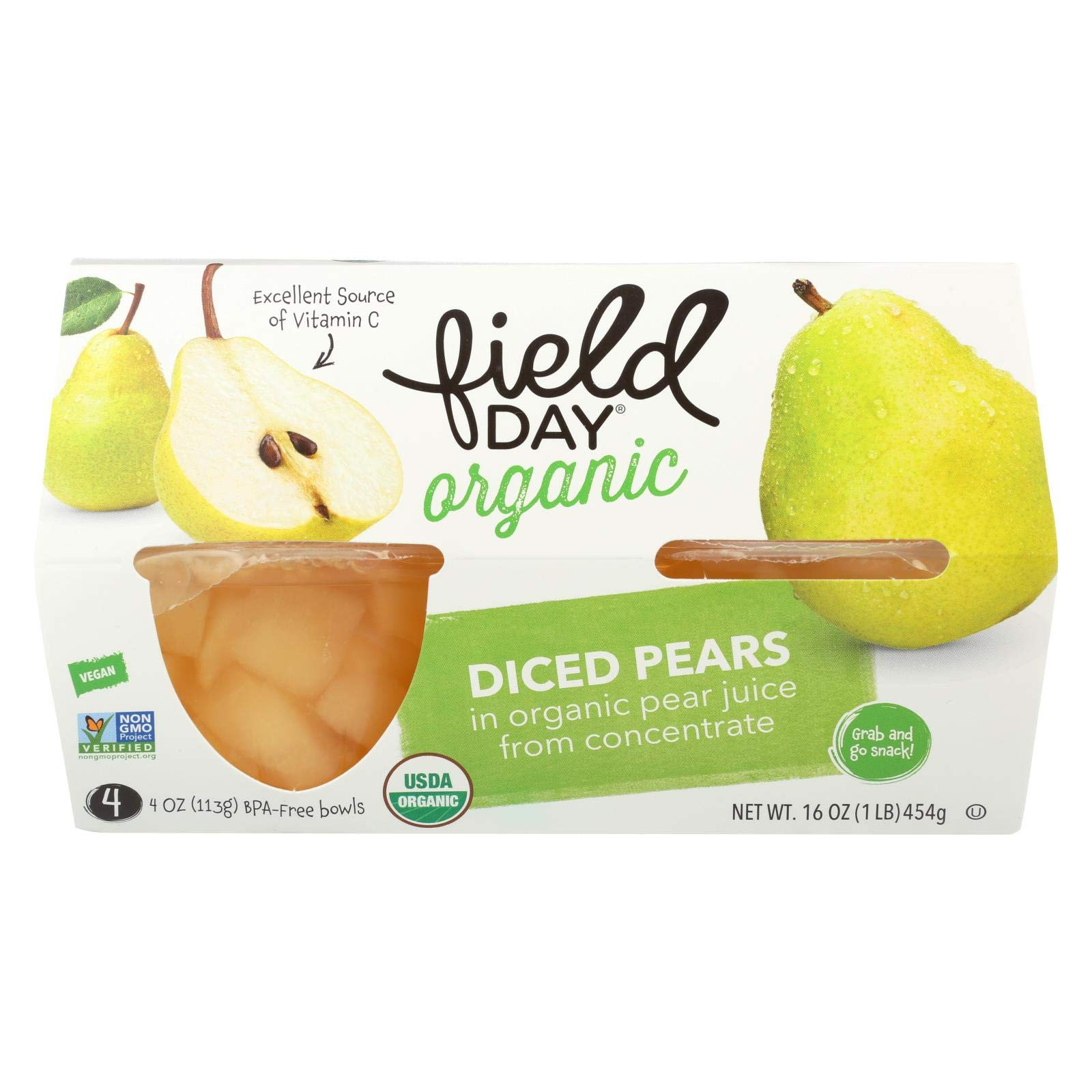 Pears 95 percent organic Diced Cup 4 Oz - Pack of 6 - SPu1019900 by Field Day