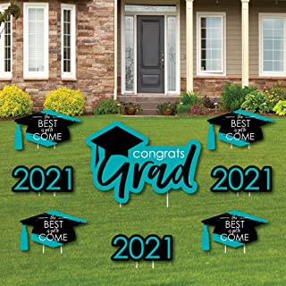product image for Big Dot of Happiness Teal Grad - Best is Yet to Come - Yard Sign and Outdoor Lawn Decorations - Turquoise 2021 Graduation Party Yard Signs - Set of 8