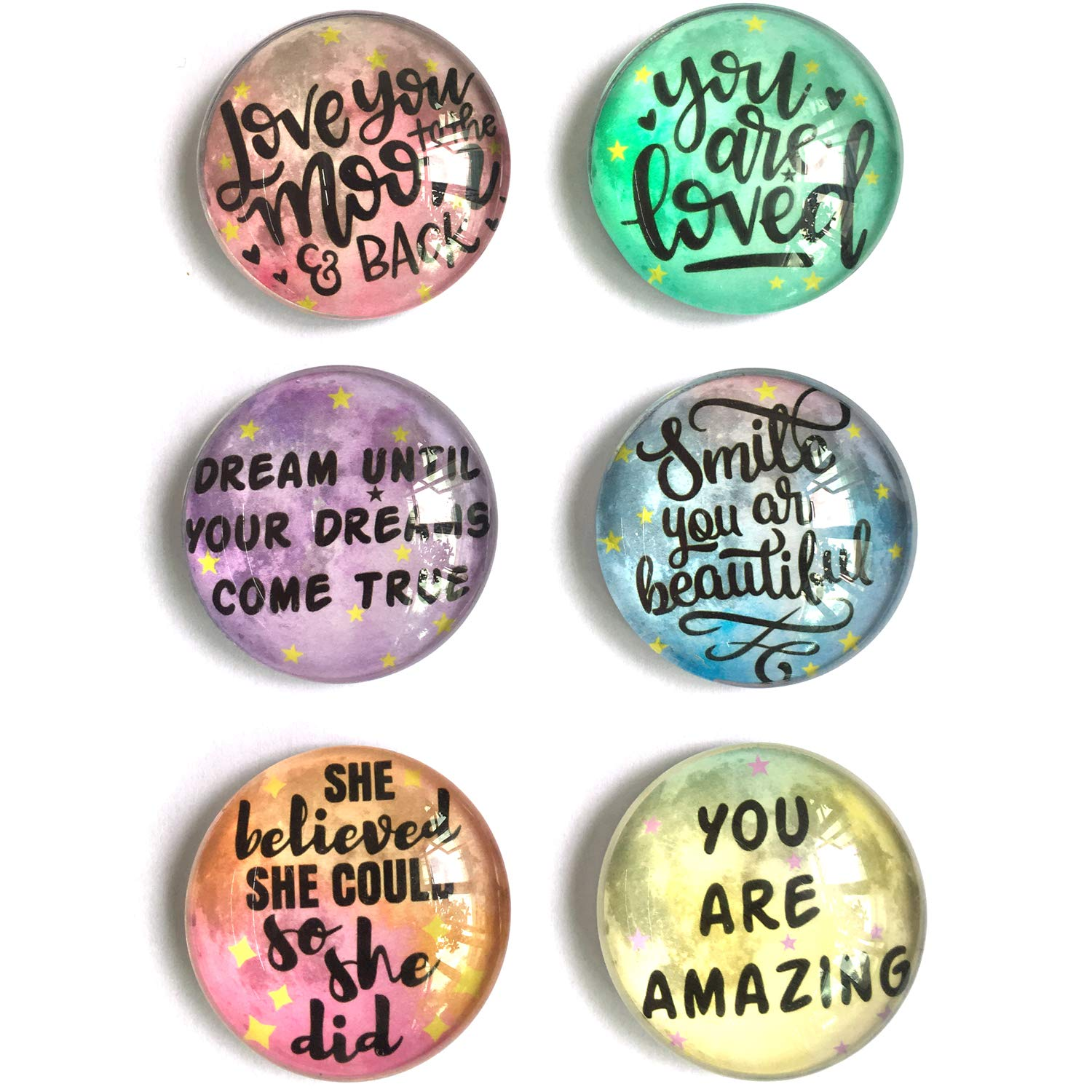 akeke Inspirational Quote Moon Refrigerator Magnets set of 6 Best Gifts for Kids Girls Friend Students Classroom Whiteboard Locker Magnets