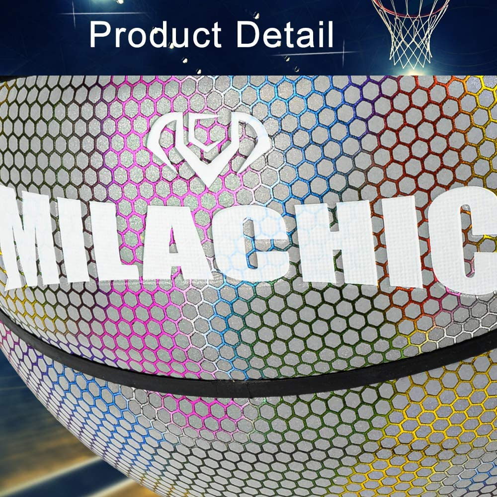 Milachic Reflective Glow Basketball Street Outdoor Basketball Official Size Holographic Glow in The Dark Basketball