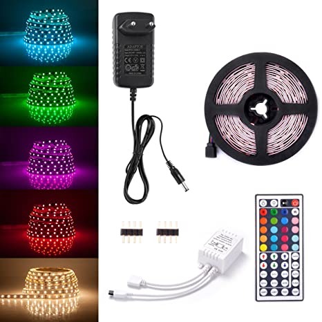 Sunix® Kit de Ruban LED RGB 2M 5050 SMD 60 LEDS, Adapteur Flexible Strip Light + télécommande à infrarouge 44 touches + Alimentation 2A 12V