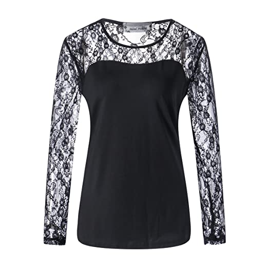 Image Unavailable. Image not available for. Color  PESTANIX Women Sexy Long  Sleeve See Through Blouse Black Lace Hollow Out Plus ... 42d8a67525e7