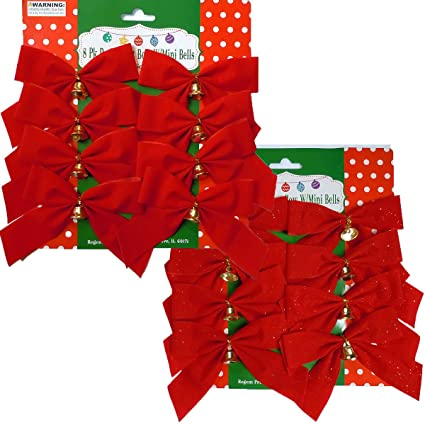 16 small 4x5 red christmas bows with metal bells 8 with glitter - Red Christmas Bows