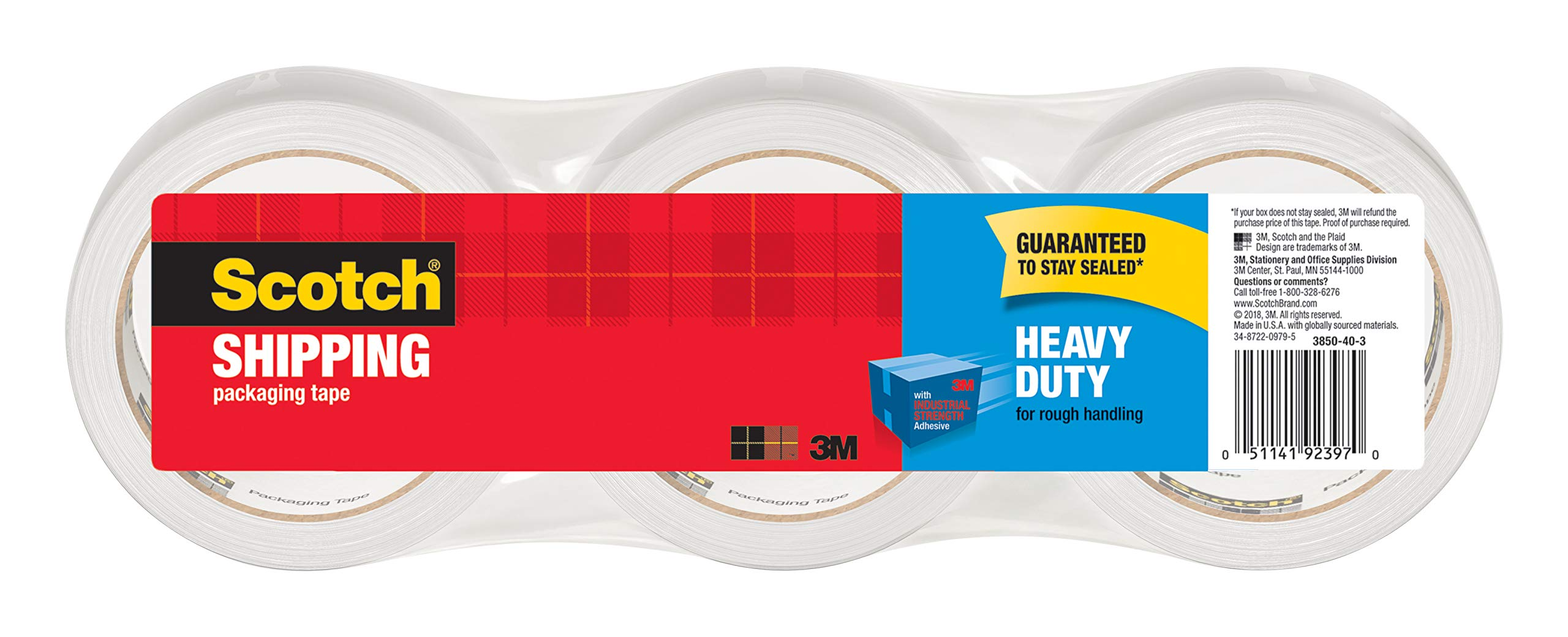 Scotch Heavy Duty Shipping Packaging Tape, 3'' Core, 1.88'' x 54.6 Yards, 3 Rolls (3850-3) by Scotch Brand