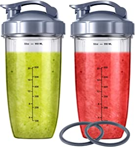 2-pack Replacement Parts Upgrade 32oz Cups with Flip-Top To-Go-Lid and Rubber Gaskets Compatible with NutriBullet 600w/900w Blender Accessory