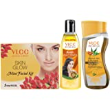 VLCC Ayurveda Intense Nourishing Shampoo,100ml, Ayurveda Hair Oil,120ml and Facial Kit Combo