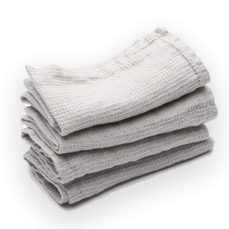 LinenMe Waffle Wash Cloths, 12'' x 12'', Silver, 100% European Linen, Prewashed, Machine Washable