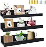 16 Inch Black Floating Shelves Set of 3, Picture Ledge Wall