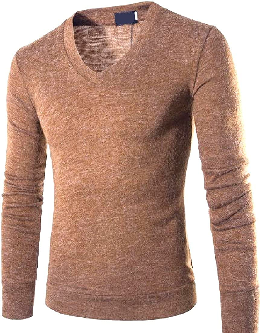 Honey GD Mens Solid-Colored V Neck Fashion Athletic Tees Top