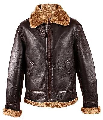 9329e3aa7e8 Men s RAF Aviator B3 Ginger Marino Shearling Sheepskin WW2 Genuine Leather  Bomber Flying Jacket (4XL)  Amazon.co.uk  Clothing