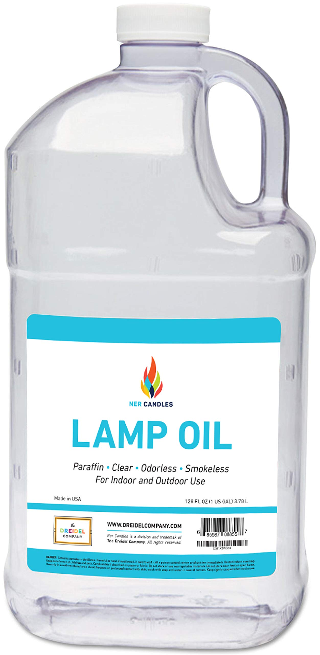 Liquid Paraffin Lamp Oil - 1 Gallon - Smokeless, Odorless, Ultra Clean Burning Fuel for Indoor and Outdoor Use by The Dreidel Company