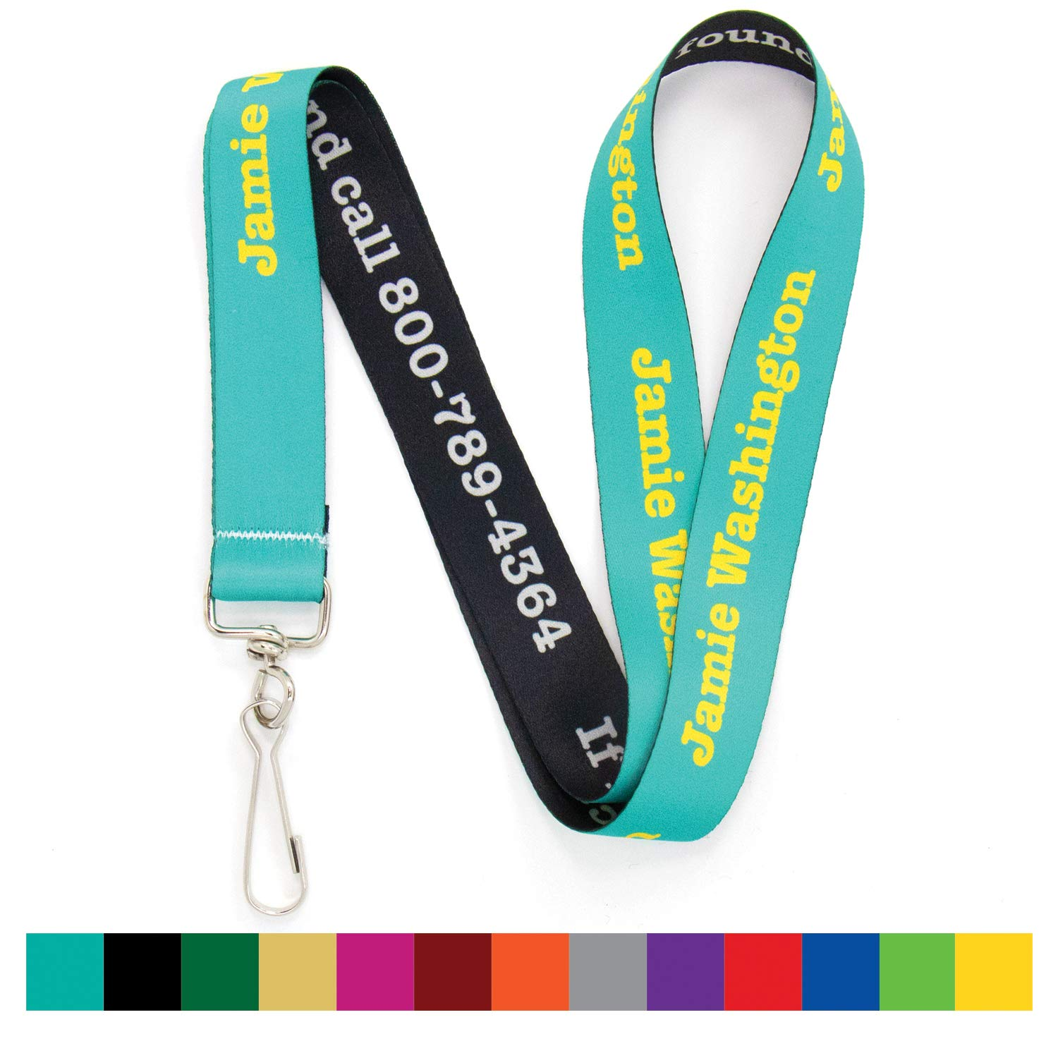 Buttonsmith Custom Solid Lanyard - Pack of 5 - Choose Background Color, Font Color, Font Style and Icon - Personalize with Your Name or Text - Made in The USA by Buttonsmith