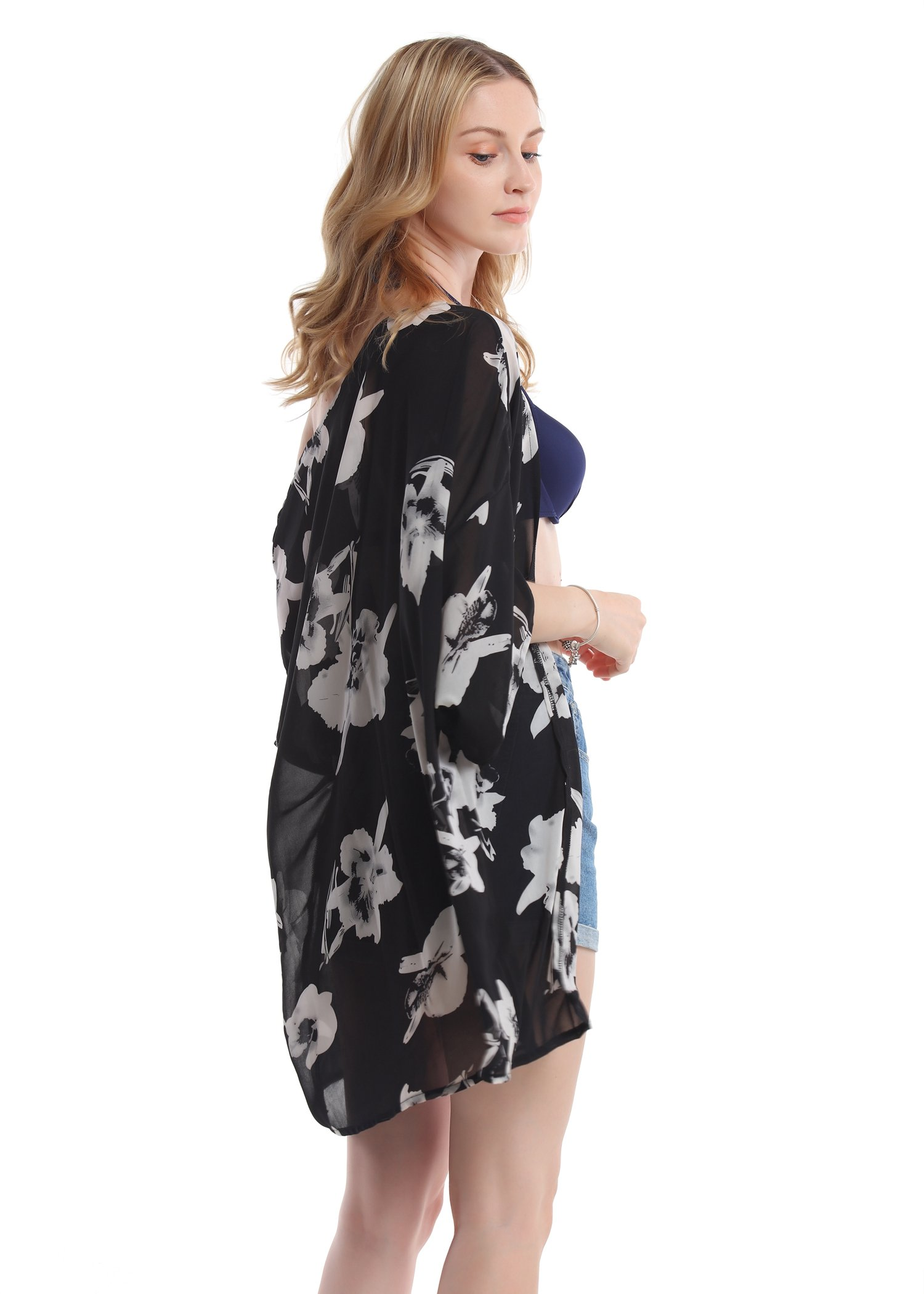 Women's Floral Chiffon Kimono Top - Ladies Sheer Flower 3/4 Sleeves Beach Cover Up for Bikini,Beachwear and Cardigan(Black&White,XL) by soul young (Image #3)