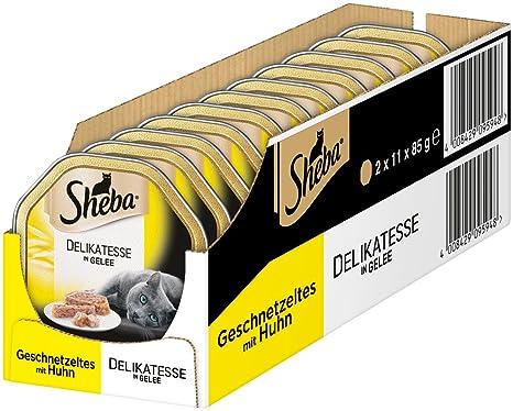 Sheba Comida para Gatos, guiso salteado con gelatina y Pollos, 22 ...
