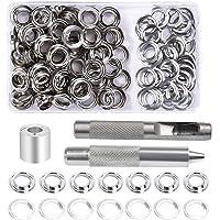 Grommet Kit, 100 Sets 10mm Grommet Eyelets, Metal Grommet Eyelets Kit, Tarpaulin Repair Kit met 3 Grommet Setting Tool…