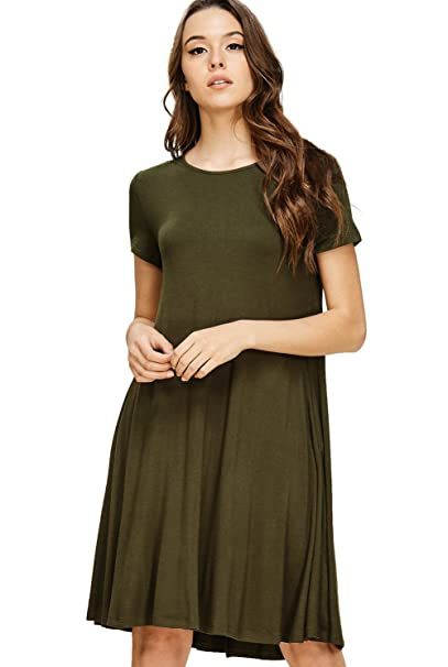 Annabelle Womens Plus Size Short Sleeve Round Neck Mid Length Dress