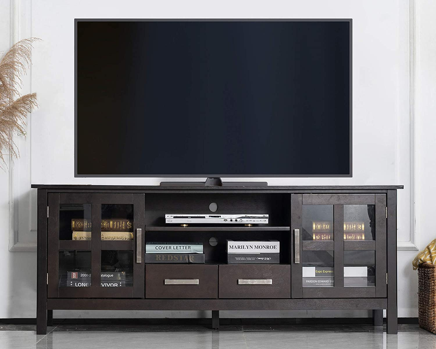 CHADIOR Wood TV Stand for TVs up to 65 Inch Farmhouse TV Entertainment Center with Storage Shelves and Cabinets with Glass Doors 60 inch Wide Long TV Media Stand TV Console Table, Espresso