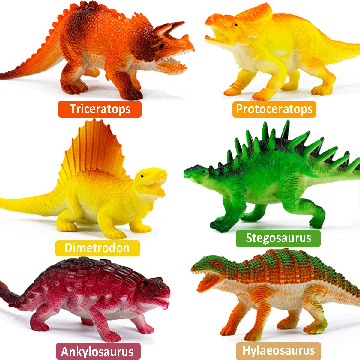 "Realistic Dinosaur Figure Toys 6 Pack 7"" Large Size Plastic Dinosaur set"