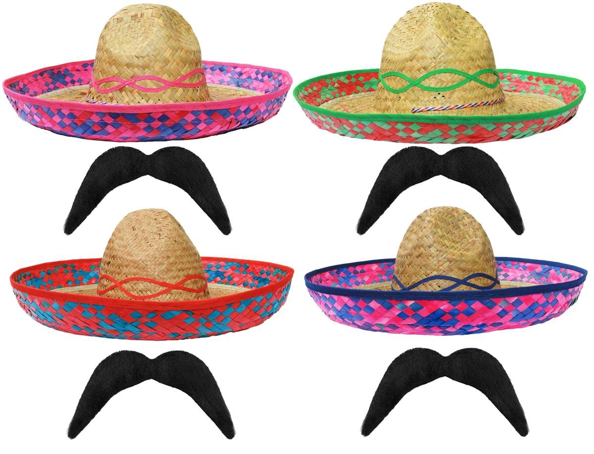 BLUE MEXICAN SOMBRERO STRAW HAT + MOUSTACHE PERFECT FOR ANY MEXICO SOMBREROS  FANCY DRESS PARTY FOR MEN AND WOMEN WHOLESALE - X1 SOMBRERO + X1 MOUSTASHE   ... 3a5f5b998bf2