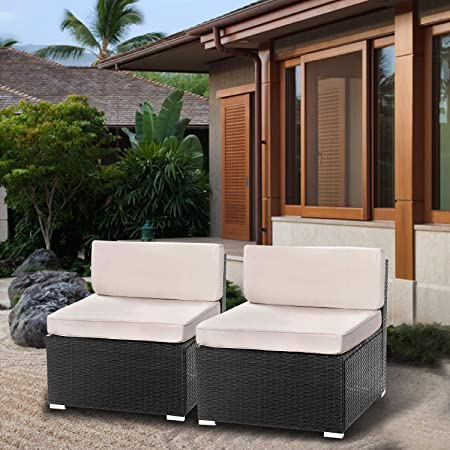 BaoChen 2 Pieces Patio Furniture Sets All-Weather Outdoor Sectional Sofa Manual Weaving Wicker Rattan Patio Conversation Set