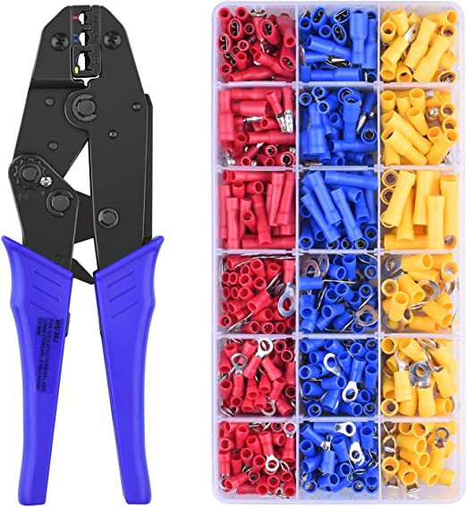 0.5-1.5mm/² Wire Terminals Crimping Tool Kit,Knoweasy Spade Connectors Crimper and Ratcheting Wire Terminals Crimping Tool of AWG26-16 with 300PCS Male and Female Spade Connector