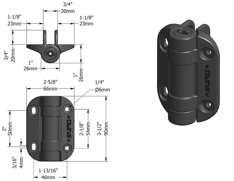 Lockey USA Sumo SSC Adjustable Self-Closing SafeClose Gate Hinges Black