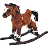 Qaba Kids Plush Ride On Toy Rocking Horse with Realistic Sounds - Dark Brown / White