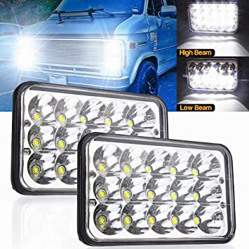 Amazon Com Led Headlights Rectangular 4x6 Inch 45w Hi Lo Sealed Beam Replacement H4651 H4652 H4656 H4666 H6545 For Kenworth Peterbilt Truck Freightliner Jeep Wrangler Oldsmobile Cutlass Ford Probe Chevrolet Automotive