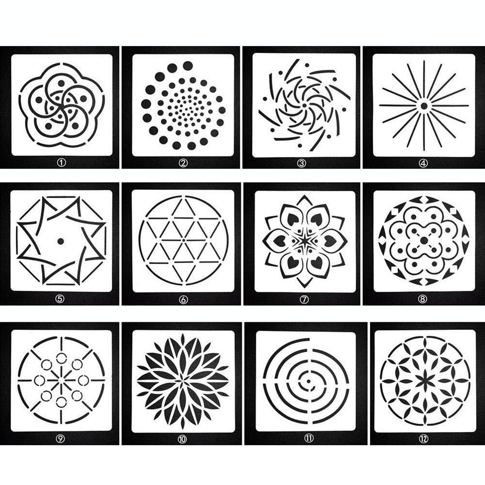 KOBWA 12 Pack Mandala Dotting Stencils Template,Mandala Dotting Stencils for Painting on Wood,Airbrush and Walls Art