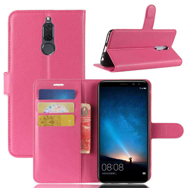Guran® Funda de Cuero PU Para Huawei Mate 10 Lite Smartphone Función de Soporte con Ranura para Tarjetas Flip Case Cover Caso-rose red Huawei Mate 10 Lite-7