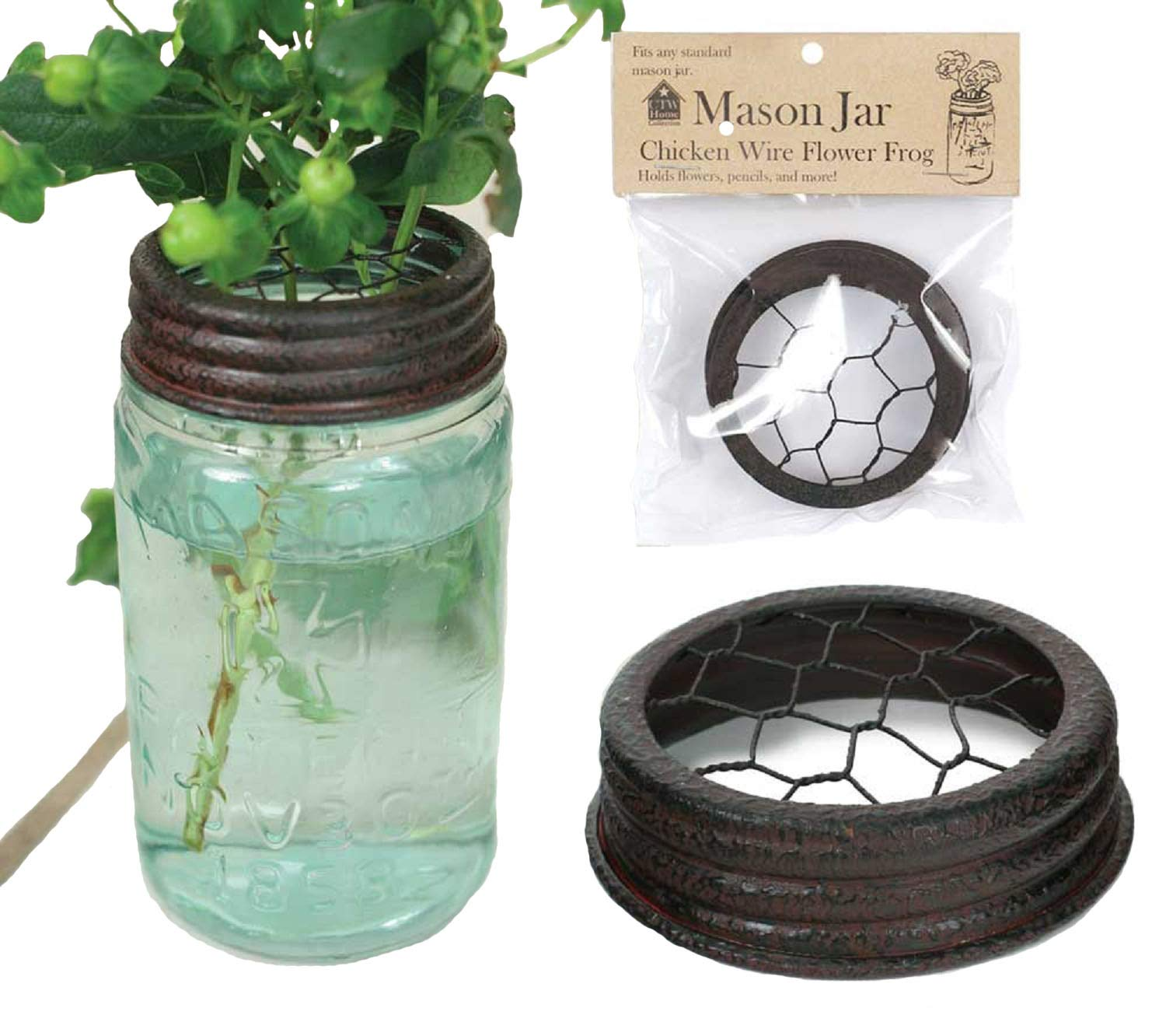 CTW Home Collection Mason Jar Chicken Wire Flower Frog Lid Colonial Tin Works 370003