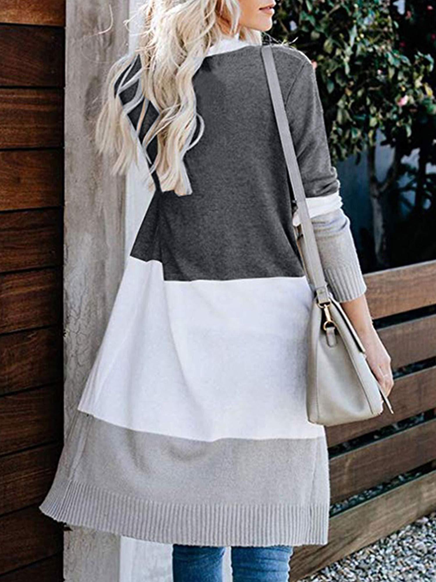 Womens Boho Open Front Cardigan Colorblock Long Sleeve Loose Knit Lightweight Sweaters (L, Dark Grey)