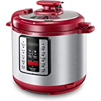 Electric Pressure Cooker ICOOKPOT 9-in-1 Multi- Use Programmable Smart Pressure Cooker, Slow Cooker, Yogurt Maker, Rice Cooker, Steamer, Soup and Warmer, Steam Rack and Recipes, Red