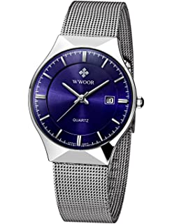 WWOOR Mens Analog Quartz Watch Ultra Thin Dial Date Stainless Steel Mesh Belt Waterproof